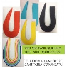 Set fasii unicolor quilling - 3mm, 200 fasii