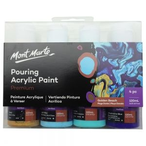 Acrilice Pouring Golden Beach Mont Marte Set 4 bucx 120ml
